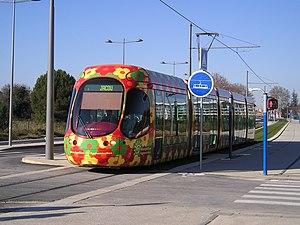 Montpellier tramway - Line 2 tramway in  Saint-Jean-de-Védas.