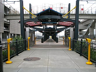 Stadium station (Sound Transit) - The entrance to Stadium station, looking south at the ticket vending machines and ORCA card readers