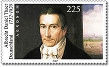 Albrecht Daniel Thaer, Porträt von Johann Jacob de Lose (1803) auf einer deutschen Briefmarke von 2002 zum 250. Geburtstag von Thaer[15] (Quelle: Wikimedia)