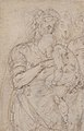 Standing Virgin with Child, Two Heads at Upper Right (recto); Sketch of Steps (verso) MET 1975.131.29.jpg
