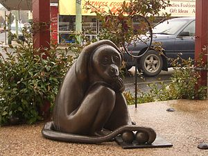 """Brass monkey (colloquialism) - The Brass Monkey of Stanthorpe, Queensland, a place known for its """"brass monkey weather"""", complete with a set of balls"""