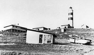 Cape Moreton Light - Lighthouse and surrounding buildings, 1951
