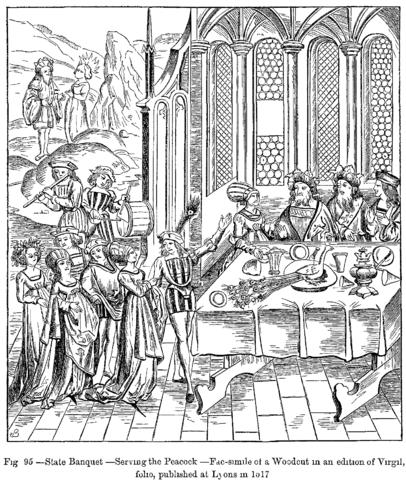 Scena di banchetto da una stampa cinquecentesca