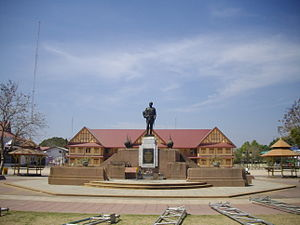 Statue of Rama V at the old building of Benchama Maharat School, Ubon Ratchathani
