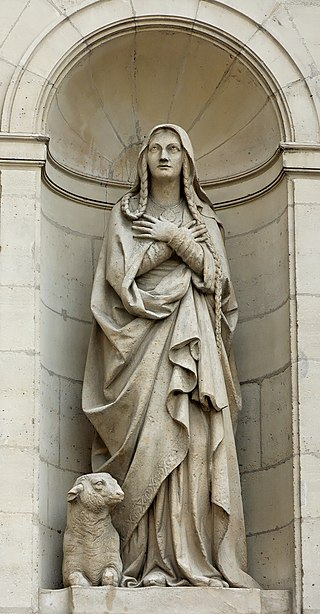 Estátua de Santa Genoveva na Igreja de Saint-Étienne-du-Mont, em Paris.
