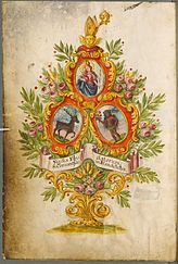The coat of arms of the Benedictine Abbey of Plankstetten in the Upper Palatinate / sheet from a manuscript of the Bavarian State Library
