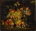 Still life of flowers and fruits, including pomegranates, peaches, and grapes .jpg