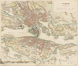 William Barnard Clarke - Map of Stockholm by W.B. Clarke 1938