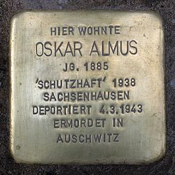 Photo of Oskar Almus brass plaque