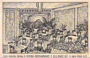 Stork Club - Illustration of the club's dining room on East 51st Street in 1933