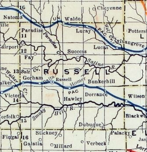 Russell County, Kansas - 1915-1918 Railroad Map of Russell County