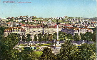 Heinrich Rau - Stuttgart's New Castle about 1916. The upper parts of the then adjacent Wilhelm Palais can be seen behind the right wing of the castle.