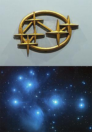 Subaru - Former logo on a Subaru 360 showing six stars in an arrangement similar to the Pleiades open star cluster