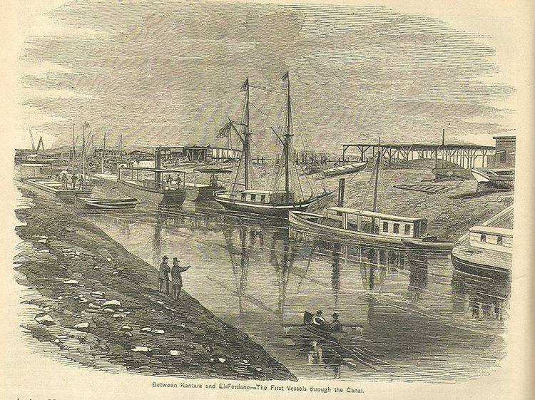 Suez Canal, between Kantara and El-Fedane. The first vessels through the Canal. 19th century image