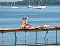 Sunning on a pier near the Memorial Union at University of Wisconsin-Madison.jpg