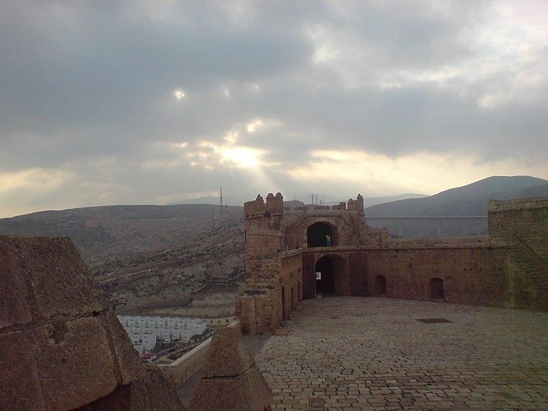 File:Sunshine on Alcazaba of Almeria.jpg