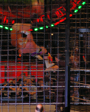 Hardcore Holly - Holly performing a superplex on Test in the Extreme Elimination Chamber at the December to Dismember event