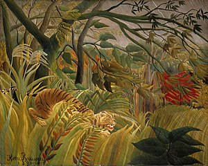 Henri Rousseau - Tiger in a Tropical Storm (Surprised!) (1891) was the first of many jungle scenes for which Rousseau is best known.