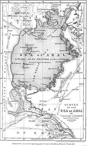 Aral Sea - The map of 'Aral' Sea of 1853 published for the Journal of the Royal Geographical Society in London