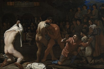 Michael Sweerts, Wrestling Match, 1649. Karlsruhe, Staatliche Kunsthalle. Sweerts's style is influenced by his time in Rome, and in this painting he combines a genre subject with classical poses and Italian coloring Sweerts, Michael -1649- - Wrestling Match.jpg
