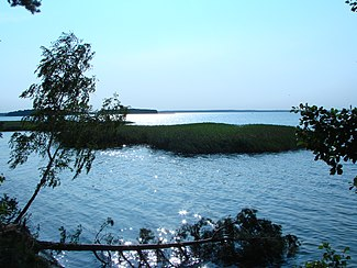Śniardwy, the largest lake in Poland, with Pajęcza and Czarci Ostrów Islands