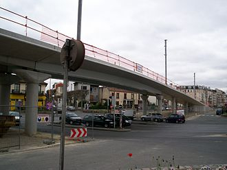 Île-de-France tramway Line 4 - The new two-lane overpass from the ex-RN3 under construction in 2006.