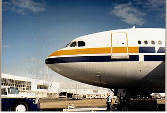 Eagle Farm Airport - Trans Australia Airlines A300B4 VH-TAD, just prior to pushback at Brisbane's old Eagle Farm Airport,1988.