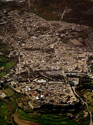 Melite (ancient city) - Melite was located on the site of modern Mdina (bottom) and Rabat (top)