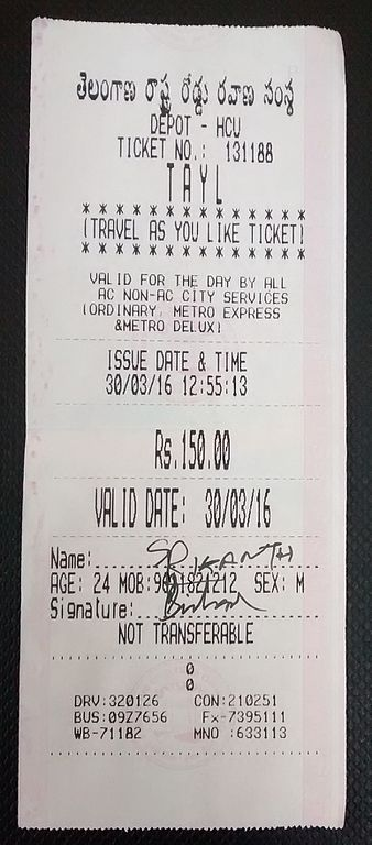 TSRTC Travel As You Like [TAYL] Ticket.