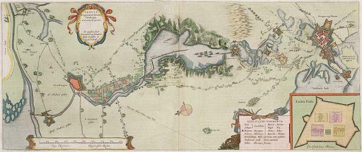 Tabula Bergarum ad Zomam Stenbergae et novorum ibi operum - Map of the Siege of Bergen op Zoom in 1627 (Frans van Schoten)