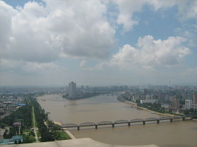 Taedong River, Pyongyang, from the Juche Tower.jpg