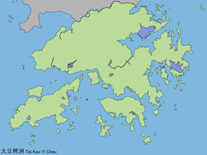 Kau Yi Chau - Map showing the location of Kau Yi Chau in Hong Kong