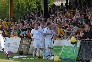 Maidstone United F.C. - Mo Takaloo celebrates his goal which saves Maidstone from relegation at Folkestone Invicta