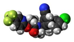 Space-filling model of the taranabant molecule