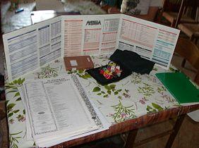 Tavolo allestito per il gioco di ruolo Martelli da Guerra.JPG