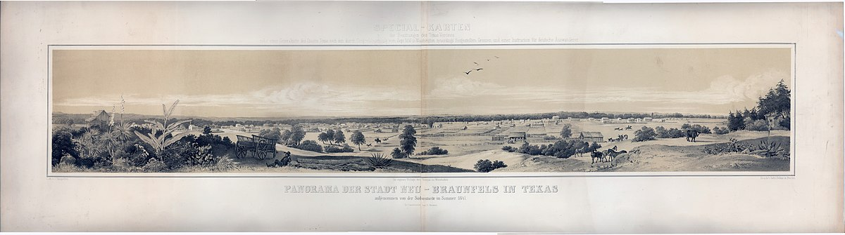 Panorama of New Braunfels in 1851.
