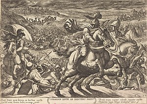 Battle of Siddim - Abram Makes the Enemies Flee Who Hold His Nephew (1613 etching by Antonio Tempesta at the National Gallery of Art)