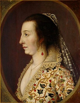 """Teresa Sampsonia - Lady Teresa Shirley, painted c. 1611–1613 by William Larkin in England, and dressed in then contemporary attire. According to art historian Patricia Smyth, """"the embroidery on Teresa's dress includes honeysuckles, which are to signify love, as well as strawberries, as a symbol for fruitfulness"""". Smyth notes that these emblems may have an additional meaning """"as the Shirley's child, Henry, was born during this short stay in England""""."""