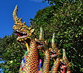 Thailand Wat Phra That Doi Suthep Temple Dragons on Gates.JPG