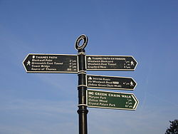 Thames Path sign, Thames Barrier.jpg