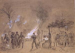 Louis Blenker - Thanksgiving in the camp of General Louis Blenker