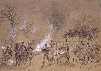 Sketch by Alfred Waud of Thanksgiving in camp (of General Louis Blenker) during the U.S. Civil War in 1861 Thanksgiving 1861 croped.jpg