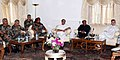 The Defence Minister, Shri A. K. Antony and the Chief Minister of Jammu & Kashmir, Shri Omar Abdullah reviewed the security situation in Jammu & Kashmir at a high level meeting in Srinagar on July 28, 2012.jpg