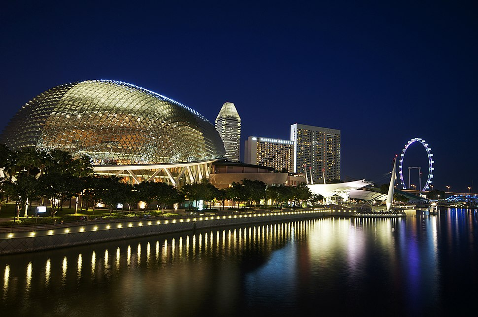 Domed performing arts centre with spikes reminiscent of a durian fruit