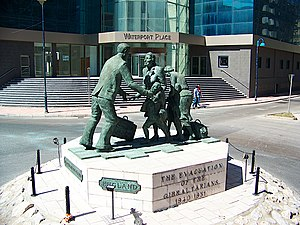 Evacuation of the Gibraltarian civilian population during World War II - Monument to the evacuation of the Gibraltarians during World War II on roundabout at N Mole Rd, Gibraltar