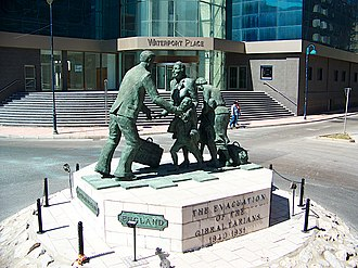 Evacuation of the Gibraltarian civilian population during World War II - Monument to the evacuation of Gibraltarians on roundabout at N Mole Rd, Gibraltar