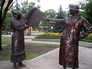 The Famous Five (Canada) - Part of the Famous Five monument on Olympic Plaza in Calgary, Alberta, Canada