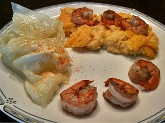 Shrimp and grits - Image: The Food at Davids Kitchen 072