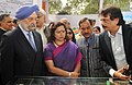 The Minister of State for Housing and Urban Affairs (IC), Shri Hardeep Singh Puri and the Member of Parliament, Smt. Meenakshi Lekhi at the foundation stone laying ceremony of Skywalk and FOB at 'W' Point, ITO, in New Delhi.jpg