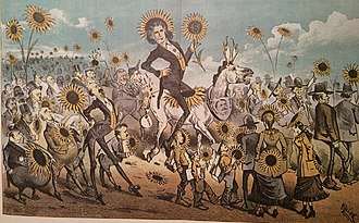 Oscar Wilde - Keller cartoon from the Wasp of San Francisco depicting Wilde on the occasion of his visit there in 1882